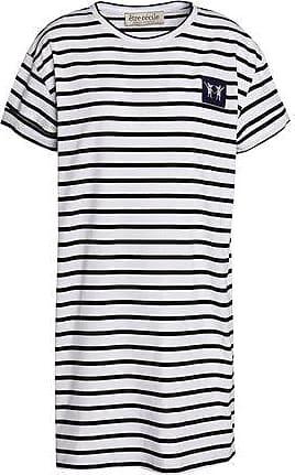 Être Cécile Woman Appliquéd Striped Cotton-poplin Shirt Light Blue Size L être cécile