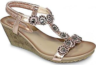 Fantasia Boutique Damen Sandalen, Beige - Rose Gold - Größe: 37.5