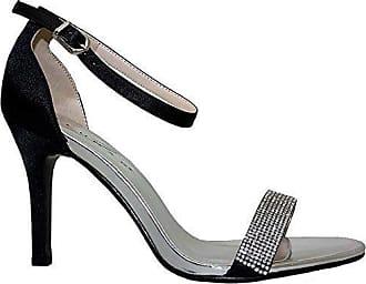Saphir Boutique flh844 Damen Tasmin Elegant DIAMANTRIEMEN Metallisch Satin Gefühl Ferse - Rot, 5 UK