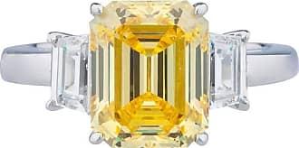 Fantasia 14kt White Gold Canary Three Stone Ring - UK I 1/2 - US 4 1/2 - EU 48 1/2