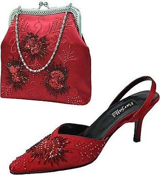 Satin Embroidered/Beaded Shoes and Matching Bag Set Size 6/39 - Red Farfalla