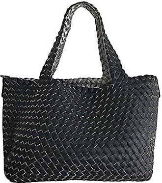 L groß 3in1 geflochtene Wendetasche Handtasche Schultertasche bag Umhängetasche Tragetasche groß (H.Grau/Rosa Glänzend) Fashion Forms