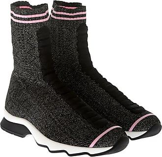 Black lurex fabric ankle boots Fendi