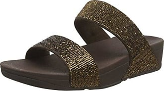 Lulu Slide Sandals-Shimmer-Check, Sandalias para Mujer, Marrn (Chocolate 30), 41 EU FitFlop