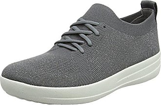 FitFlop Damen F-Sporty Uberknit Sneakers-Metallic Sneaker, Mehrfarbig (Black/Nude Metallic 502), 39 EU