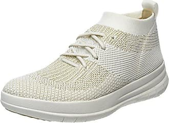Uberknit Slip-ON High Top Sneaker, Zapatillas Altas para Mujer, Multicolour (Metallic Gold/Urban White), 40 EU FitFlop