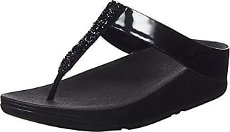 Fitflop Roka Toe-Thong Sandals-Leather, Sandalias con Tira a T para Mujer, Negro (Black 001), 37 EU FitFlop