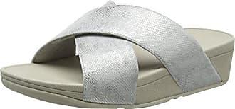 Fitflop Lulu Toe Thong Sandals, Sandalias con Punta Abierta para Mujer, Plateado (Silver Shimmer-Print 578), 40 EU