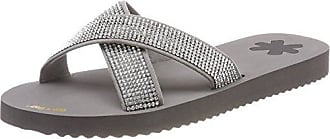 flip flop Damen Crossglam Sandalen, Grau (Light Grey), 42 EU