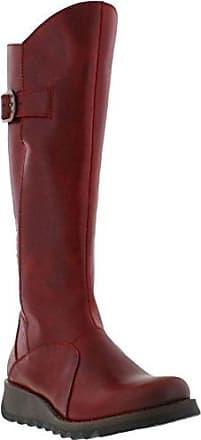 Aisun Damen Runde Zehen Plateau Blockabsatz Martin Boots Sexy Overknee Langschaft Stiefel Rot 45 EU