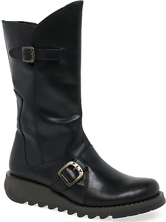 FLY London Mes 2 Womens Calf Length Boots Black Rug 3|36