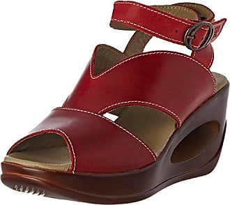 CLYM500FLY, Sandales Bout Ouvert Femme - Rouge - Rot (Red 004), 35FLY London