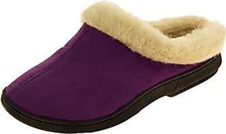 Damen 'coolers' Pelz Gefüttert Faux Wildleder Warme Maultier Pantoffeln Lila EU 38-39