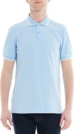 Riviera - Polo en piqué avec col rayé - Bleu - BleuFred Perry