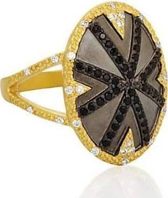 Freida Rothman Black Stone Striped Cocktail Ring - UK S - US 9 1/8 - EU 60 1/4