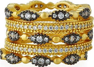 Freida Rothman Two Tone Classic Set of 5 Eternity Beaded Rings - UK J 1/2 - US 5 - EU 49 1/2