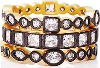 Freida Rothman Reverse Mixed Stone Radiance Set of 3 Rings - UK S - US 9 1/8 - EU 60 1/4