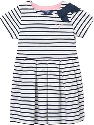 Baby Girl Striped Frill Dress - Pacific Blue GANT