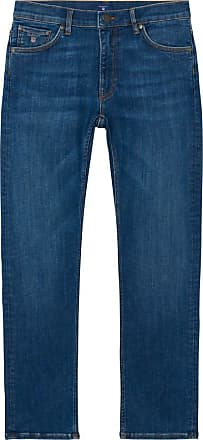 Straight Fit Cottonized Jeans - Semi Light Indigo Worn In GANT