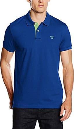 Contrast Collar Piqué Rugger, Camiseta para Hombre, Azul (Pacific Blue), Small GANT