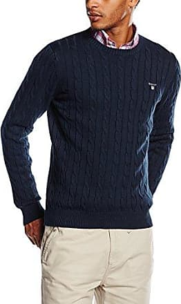 Sunbleached Cable Crew Sweater, Pull Homme, Bleu (Persian Blue), MediumGANT