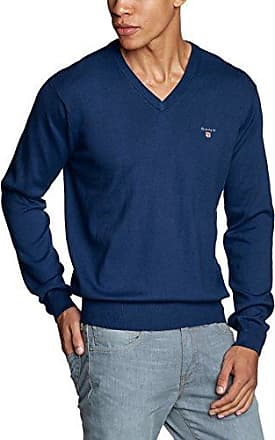 COTTON WOOL V-NECK - Pull - uni - Manches longues - Homme - Bleu (Marine Melange 487) - X-Large (Taille fabricant: XL)GANT