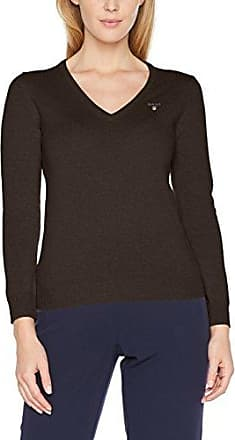 GANT Checked Lambswool Crew Sweater, Pull Femme, (Marine), 16 (Taille Fabricant: X-Large)