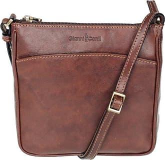 Damenhandtasche Leder Borsa Pelle 19x17x4cm (dunkelbraun) Gianni Conti