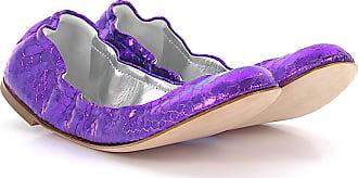 Ballet pumps calfskin embossed smooth leather Metallic purple Giuseppe Zanotti