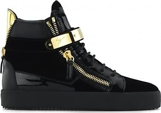 Giuseppe Zanotti Velvet printed leather high-top sneaker with metal plate COBY