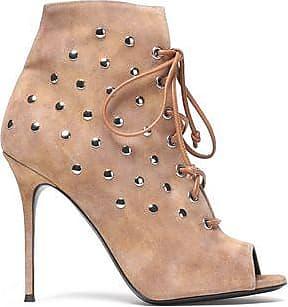 Giuseppe Zanotti Woman Lace-up Studded Suede Ankle Boots Beige Size 36.5 Giuseppe Zanotti