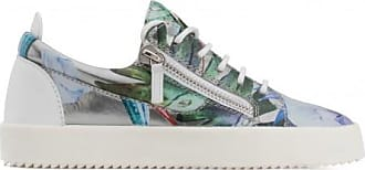 Giuseppe Zanotti Silver shooting low-top sneaker with printed flowers SPRING