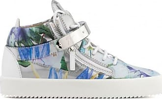 Giuseppe ZanottiSilver shooting mid-top sneaker with printed flowers SPRING