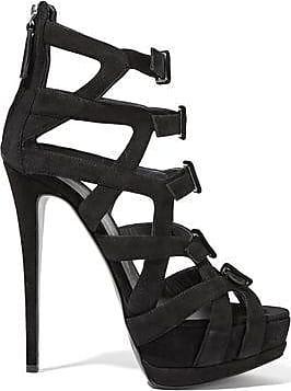 Giuseppe Zanotti Woman Buckled Cutout Suede Sandals Black Size 39.5 Giuseppe Zanotti