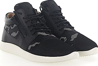 Sneaker calfskin mesh smooth leather Crystal ornament Ribbon black Giuseppe Zanotti