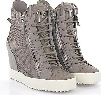 Wedge Sneakers LAMAY leather grey snake embossment Giuseppe Zanotti