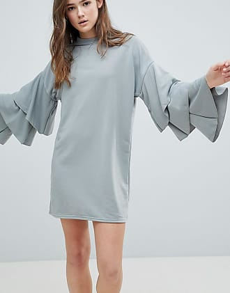 Tiered Sleeve Dress - Grey Glamorous
