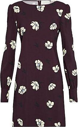Goat Woman Floral-print Crepe Mini Dress Burgundy Size 10 Goat