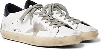 Superstar Distressed Leather And Suede Sneakers - WhiteGolden Goose