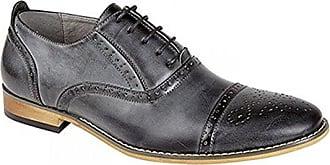 Brogue-Schuhe für Herren aus Kunstwildleder, Stil: Casual, Formell, Grau - Grey Faux Suede - Größe: 45 EU