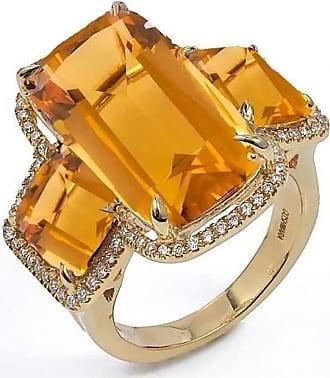 Goshwara G-One Citrine Cushion Rings with Diamonds - Ring Size- 6.5