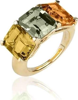 Goshwara Gossip 3 Stone Citrine Emerald Cut Rings - 6.5 (M)