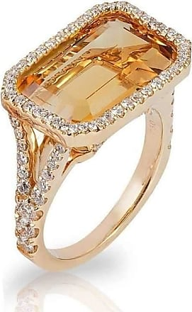 Goshwara Gossip Citrine Oval Stackable Rings with Diamonds - 6.5 (M)