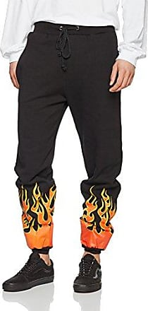 Mens Black Gothic Flame Cuff Sports Jogger GRANTED