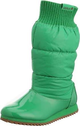 VogueZone009 Damen Rund Zehe Mitte-Spitze Eingelegt Mattglasbirne Stiefel mit Metallisch, Grün, 36