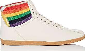 Mens Terry-Collar Leather Sneakers Gucci