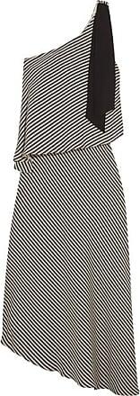 Halston Heritage Woman One-shoulder Layered Striped Crepe De Chine Dress Black Size M Halston Heritage