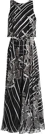 Halston Heritage Woman Fluted Printed Crinkled Georgette Midi Dress Black Size 2 Halston Heritage