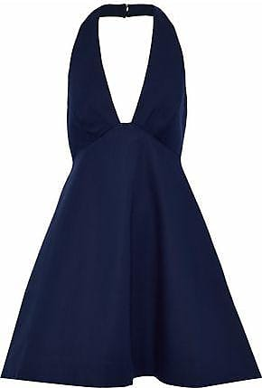 Halston Heritage Woman Stretch-cotton Ponte Mini Dress Midnight Blue Size 10 Halston Heritage