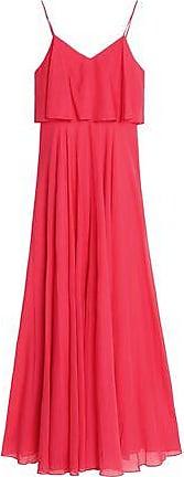Halston Heritage Woman Layered Gathered Voile Gown Papaya Size 6 Halston Heritage